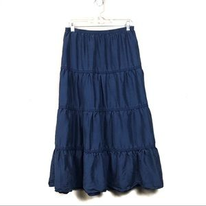 Garnet hill navy tiered silk skirt small